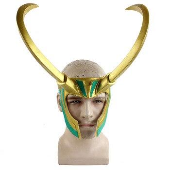 Film Thor Ragnarok Loki Maschera Cosplay Costume Masque PVC Angolare Casco Cosplay Puntelli di Halloween