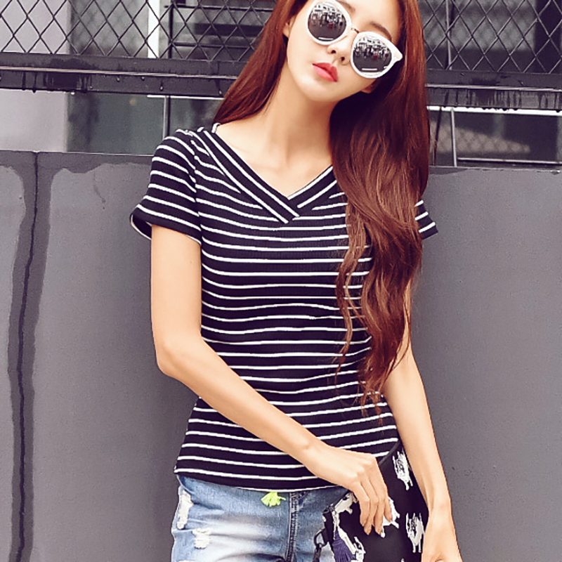 shintimes Poleras Mujer T Shirt Women Short Sleeve Tee Shirt Femme 2019 Summer Tops T Shirt Cotton Vogue Striped Tshirt Female in T Shirts from Women 39 s Clothing