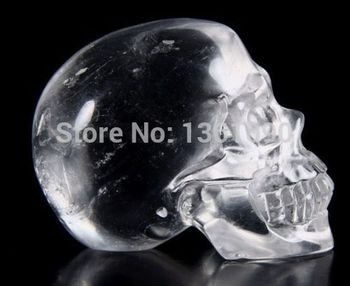 xd j00381  QUARTZ ROCK CRYSTAL Carved Crystal Skull, Realistic, Healin