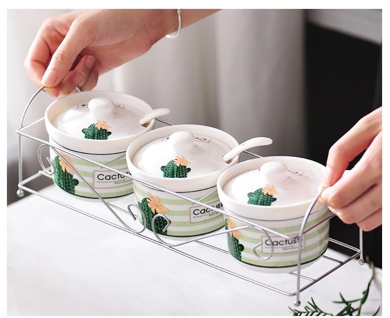 Beautiful Ceramic Sugar Bowl Home Kitchen Cactus Leaves Designs Salt Condiment Pot Jars With Spoons
