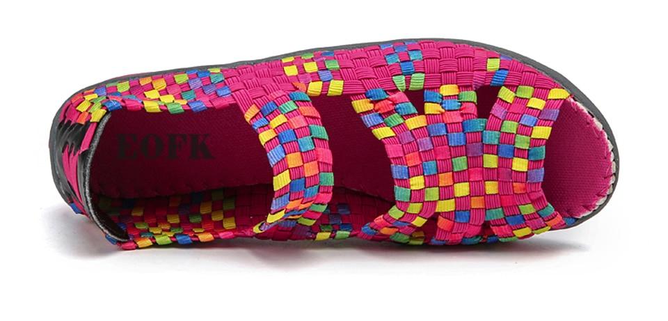 HTB1l28NisIrBKNjSZK9q6ygoVXae EOFK Women Sandals Handmade Woven Flat Shoes Woman 2019 Summer Fashion Breathable Casual Slip-On Colorful Female Footwear