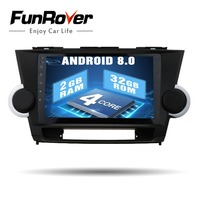 Funrover 2 din Android8.0 Car Radio GPS DVD Navi multimedia for Toyota Highlander 2009 2010 2011 2012 2013 stereo Auto Radio RDS