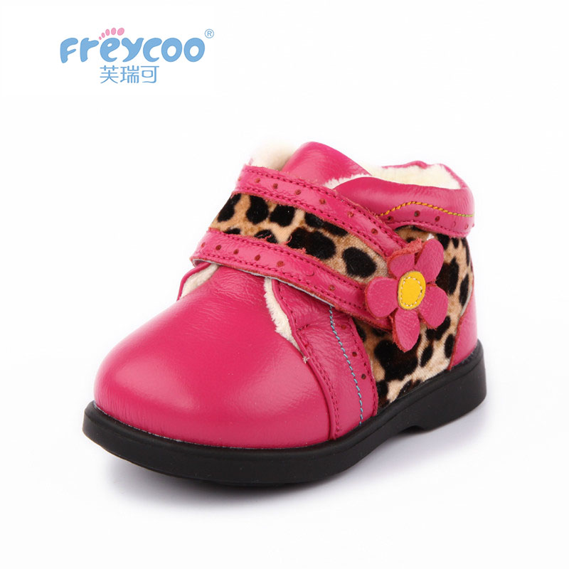 Freycoo 2019 New Fashion Winter Baby Kids Shoes For Girls Boys Flower Print Genuine Leateher Children Cotton-padded Shoes