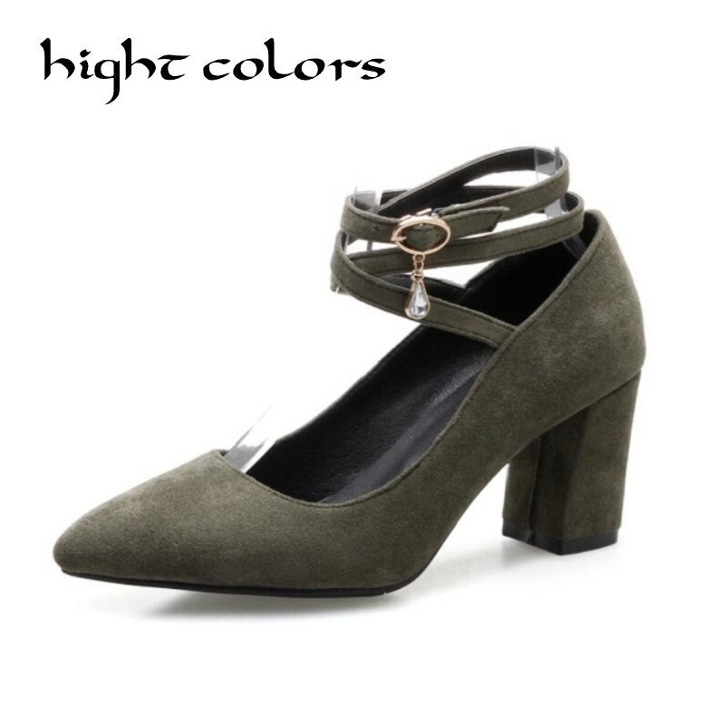 2018 Women Pumps Pointed Toe Ankle Strap Solid Square High Heels Elegant Pumps Black Green Suede PU Ladies Shoes Size 34-43 comfy women pointed toe square high heels office shoes woman flock ladies pumps plus size 34 40 black grey high quality