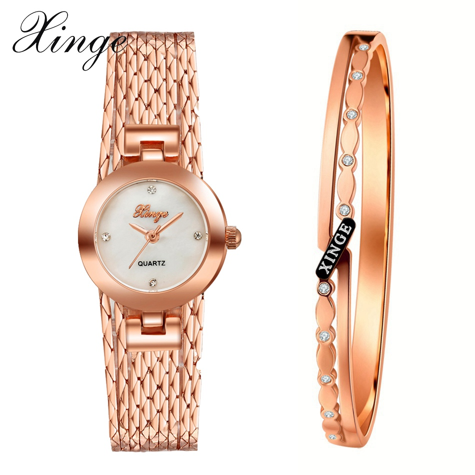 Xinge Brand Quartz Watch Women Bracelet Jewelry Watch Set Wristwatch Waterproof Fashion Popular Women Bracelet Clock Watch xinge brand luxury crystal quartz watch women bracelet rhinestone jewelry watch set wristwatch waterproof women dress watches