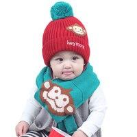Knitted Baby Hat Scarf Set Cartoon Monkey Pattern Kids Beanie With Scarf Cute Warm Winter Hat