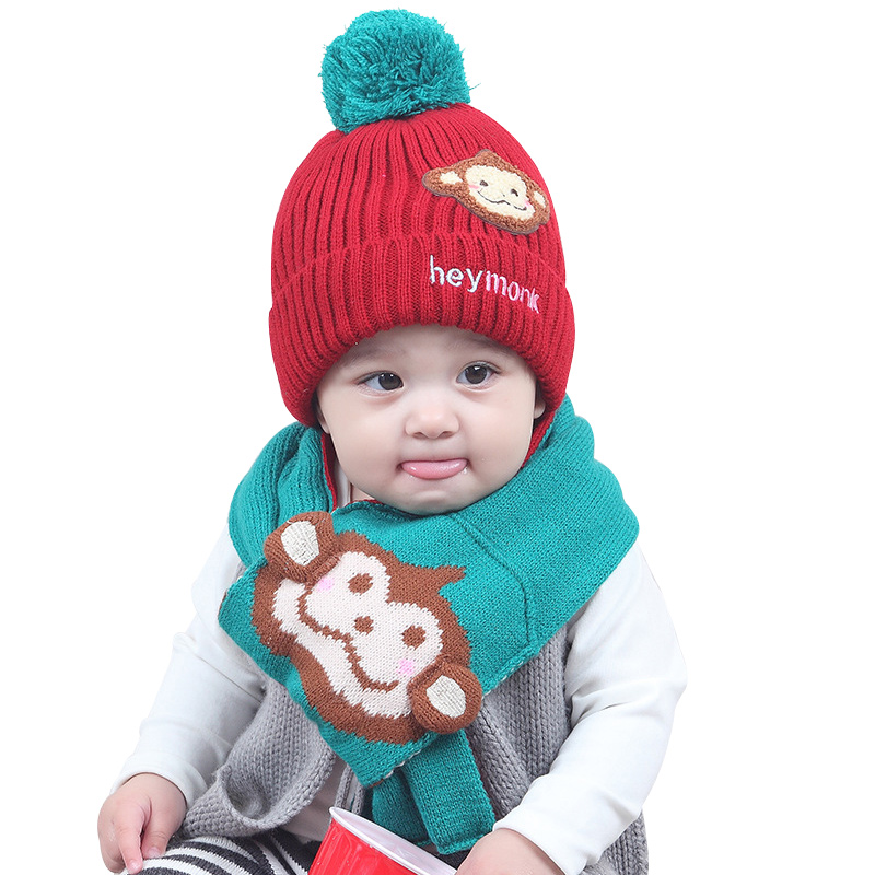 Knitted Baby Hat Scarf Set Cartoon Monkey Pattern Kids Beanie With Scarf Cute Warm Winter Hat For Boys Girls Baby Pompom Hat