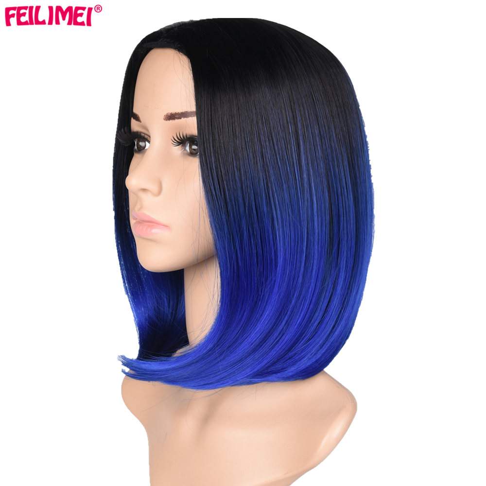 Feilimei Ombre Blue Bob Wig 160g African American Synthetic Heat Resistant Hair Short Straight Colored Cosplay Wigs