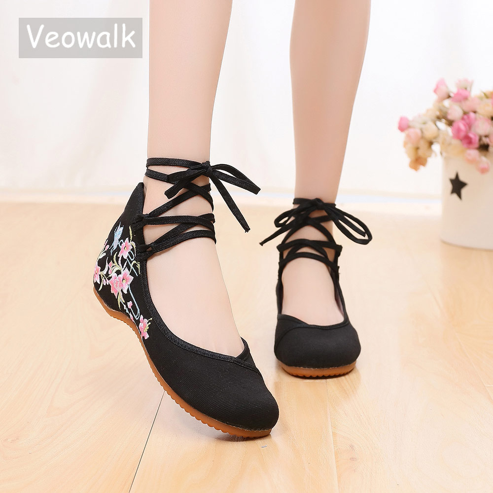 Veowalk Ankle Strap Women Canvas Embroidered Ballet Flats Ladies Comfort Cotton Ballerinas Woman Dance Shoes Vegan Muslem Shoes