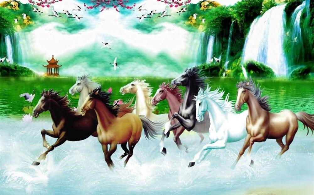 Papier peint Mural 3d personnalisé huit chevaux paysage peinture fond TV lié mur peinture papier peint