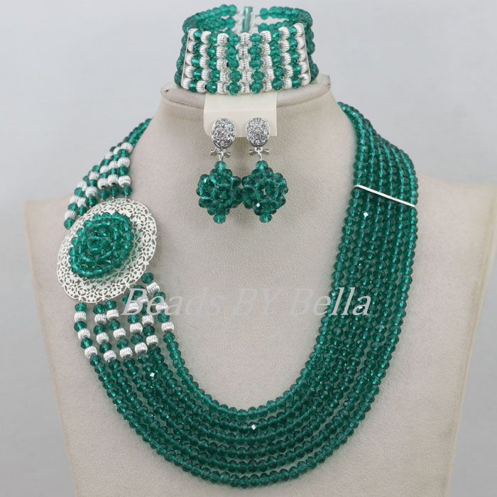 Популярные сине Зеленый Кристалл Бусины комплект украшений в нигерийском стиле Свадебные африканские Бусины комплект ювелирных изделий К
