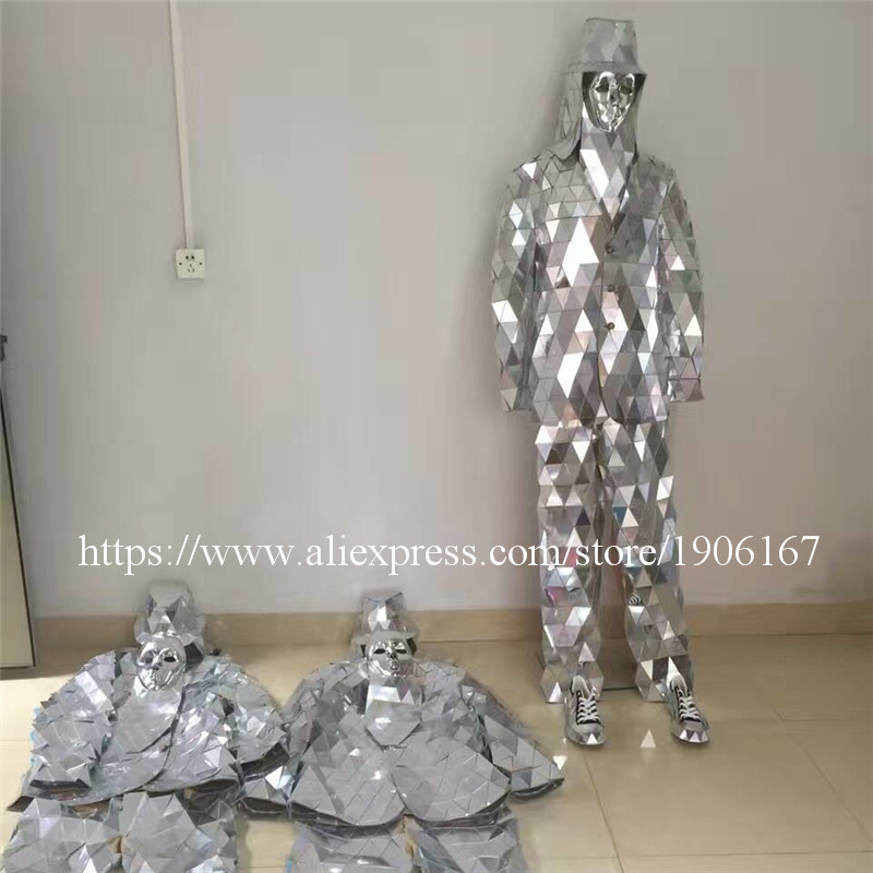 Catwalk Shows font b Men b font Silver Color Stage Ballrooom Costume Mirror Man Clothing Party