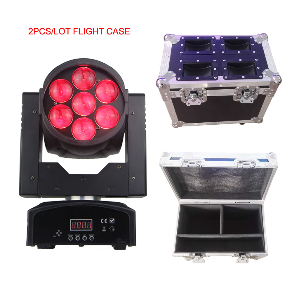 2 pcs + flight case lavage/faisceau tête mobile led 7x15 w RGBW 4in1professional KTV/DJ/Bar/Partie/Spectacle/Scène avec zoom fonction