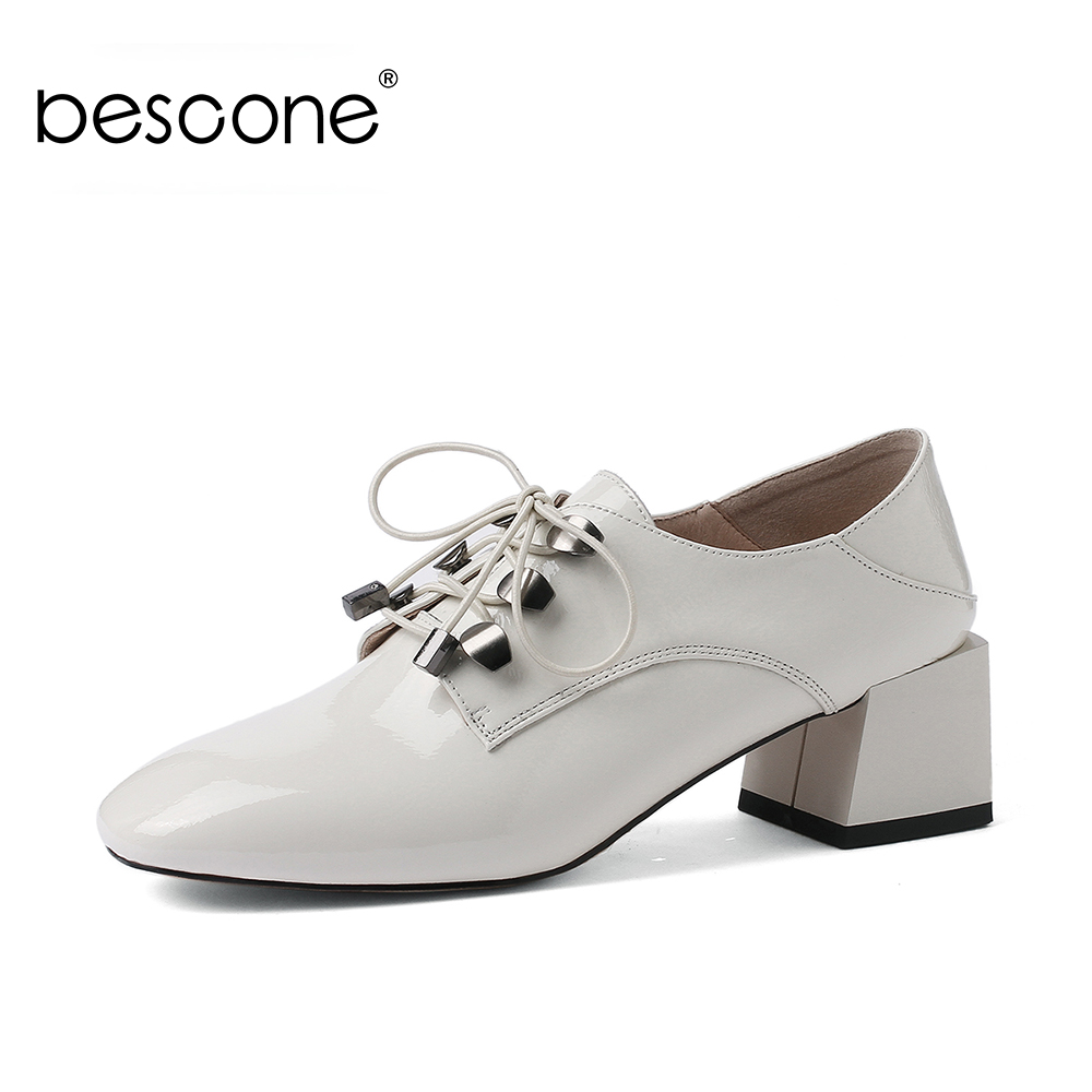 BESCONE Basic Women Pumps Comfortable 5cm Square Heels Lace up Career Pumps For Female Square Toe