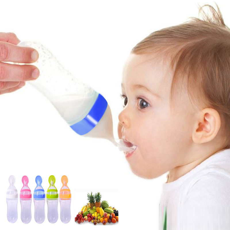 Newborn Baby Squeezing Feeding Bottle Training Rice Silicone Spoon Kids Fork Infant Cereal Food Feeder Safe Tableware Tools