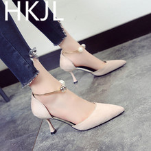 HKJL Fashion 2019 summer new pointed stiletto high heel womens sandals wild suede shoes hollow pearl A490