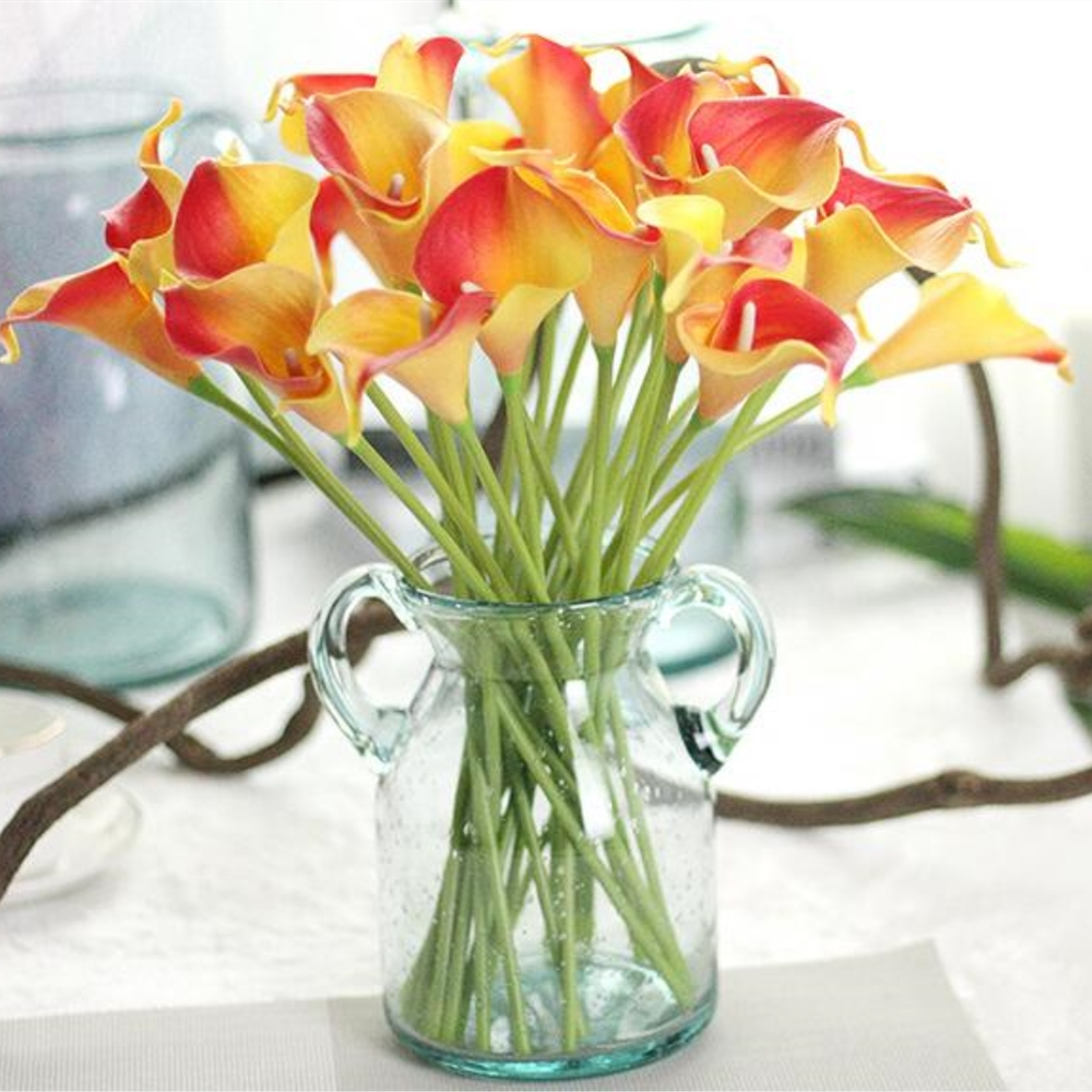 Hot sale 12pcslot artificial pu pretty flower bouquet flame color 12pcslot artificial pu pretty flower bouquet flame color red yellow calla lily flower wedding party decoration free shipping izmirmasajfo