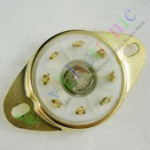 Wholesale and retail 4pc gold 8pin Ceramic vacuum tube socket loctal valve base fr 5B254 audio amp DIY free shipping