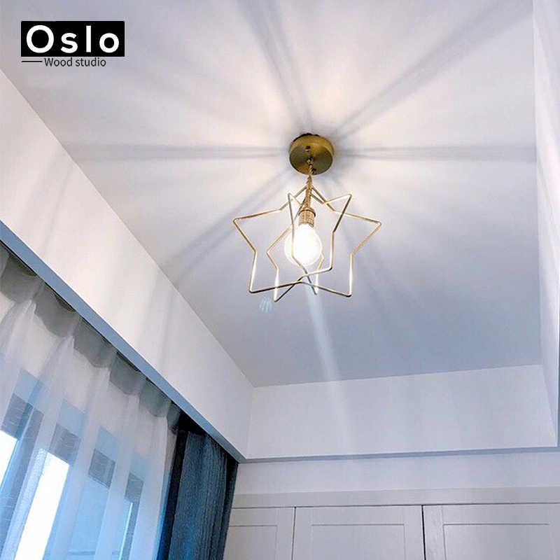 Современная Простота Ретро Медь одна голова подвесной светильник столовая спальня балкон коридор подвесной светильник бесплатная доставка