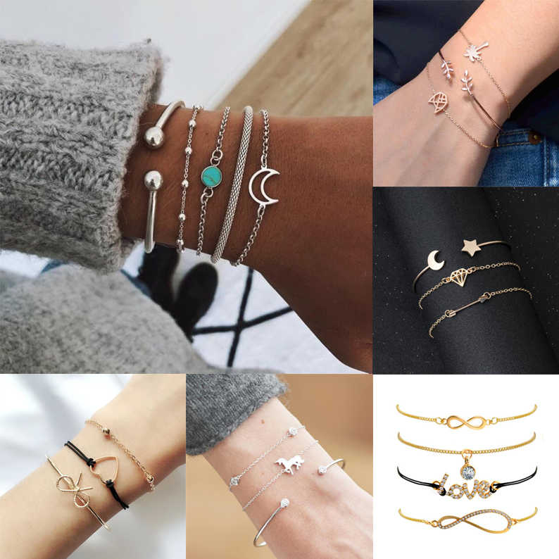Bracelet Set Women Girls Fashion Jewelry Bezel Knotted Gold Summer Party Beach String Cabochon Chain String Gift Love Luck Moon
