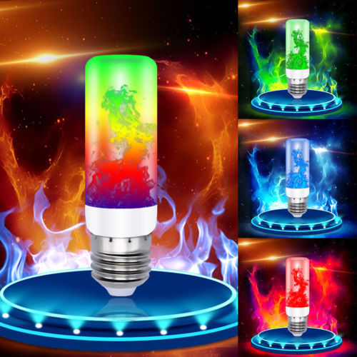 4 Modes E27/26 LED Flame Effect Fire Light Bulb Flickering Lamp Decor