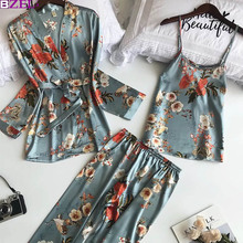Women's Robe Autumn Printed Long Sleeve Simulated Silk Leisure Wear Thin Sexy Three-piece Suit Coat+