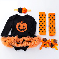 Newborn for Baby Girls Clothes Sets Pumpkin Jumpsuit Infant Bebes Tutu Dress Outfit Baby Romper My First Halloween Costume Gift
