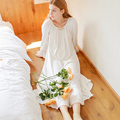 Free Shipping 2017 New Winter Women's Long Beige Vintage Pyjamas Home Cloth Sleepwear 100% Cotton Nightgown