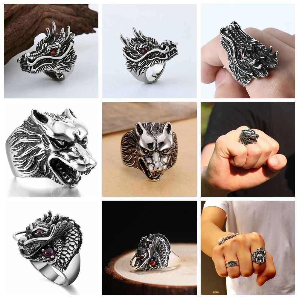 ฟรีพัดลม Retro Gothic Punk แหวนผู้ชาย Trendy Skull หมาป่ามังกรแหวนผู้ชายเครื่องประดับฮาโลวีนอุปกรณ์เสริม Anillo Hombre Bijoux