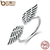 BAMOER 100 925 Sterling Silver Openwork Wings Feather Finger Ring For Woman Fine Jewelry SCR026