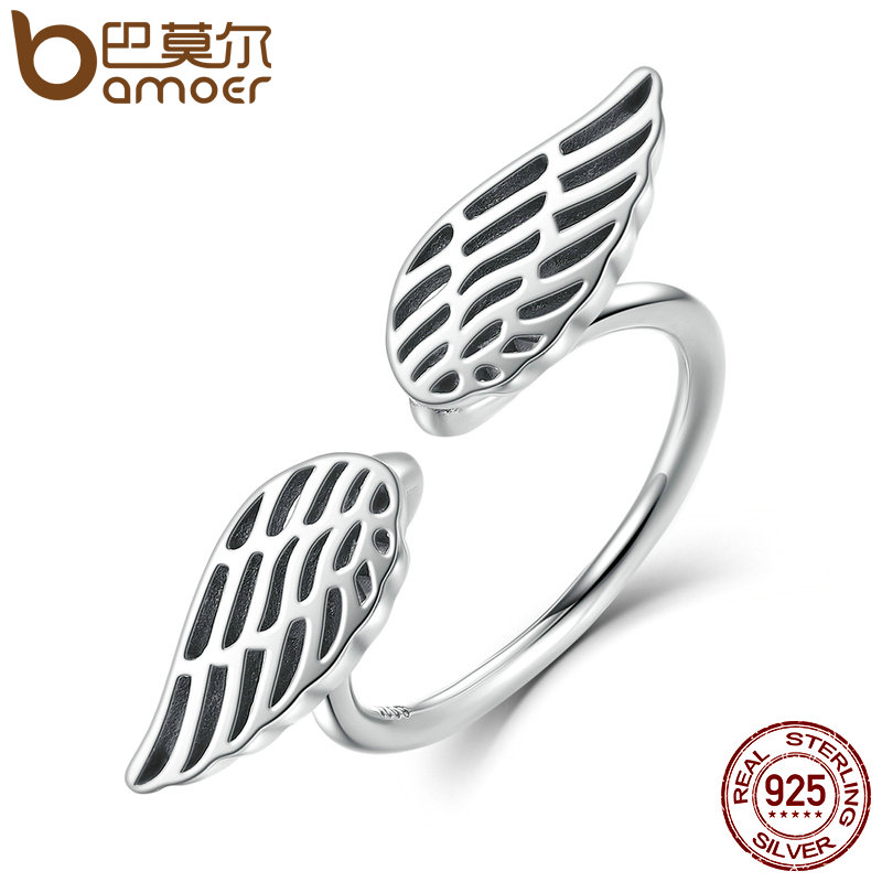 BAMOER 100% 925 Sterling Silver Openwork Wings Feather Finges
