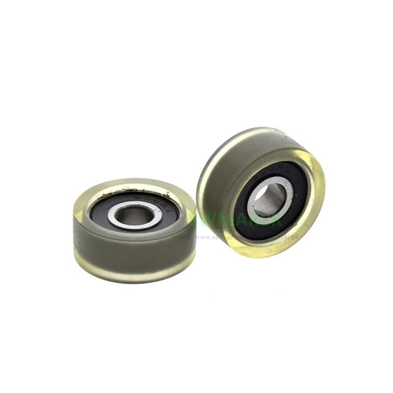 1pcs 6*20*8.5mm PU 606 bearing coated polyurethane pulley, mute rubber wheel/rolling guide wheel, separator flat wheel