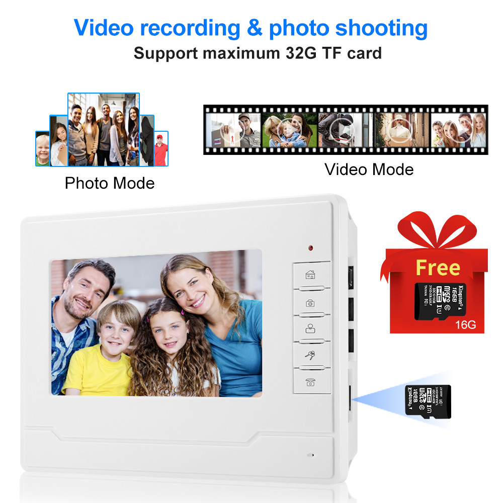 7 ''kleur Screen Video Intercom Systeem Deurtelefoon Deurtelefoon 1 2 Monitoren + Waterdichte Outdoor IR Camera + 16G Sd kaart Opname - 3