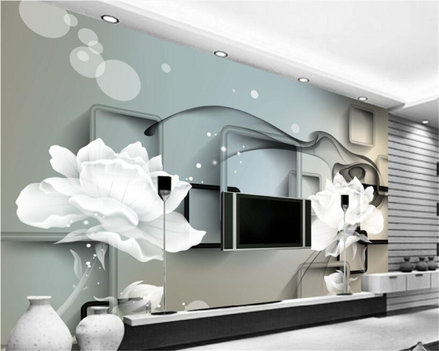 Beibehang Wall Paper With Sound Insulation Effect Wallpaper 3 D Transparent  Flower Dream Only Beautiful TV