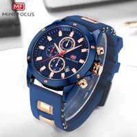 MINIFOCUS militaire décontracté hommes Quartz horloge étanche Chic chronographe calendrier bracelet en caoutchouc hommes montres Top marque de luxe
