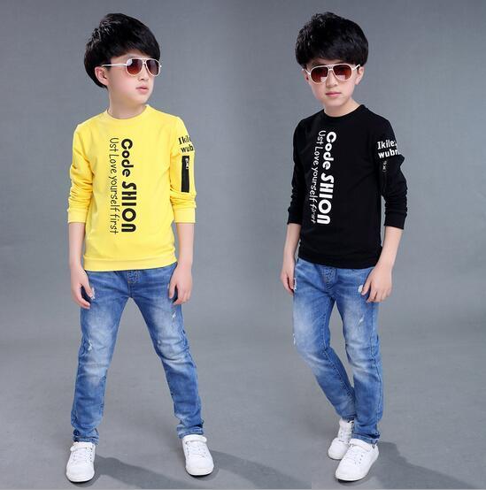 Moda Impresión de la Letra T-shirt Para Niños O-cuello Del Suéter Para Niños Térmicas Niños Camisa de Manga Larga Roupas Infantis Menino