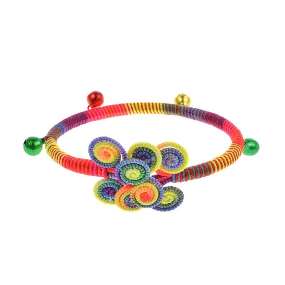 High Grade Lucky weaved bracelet Handmade Buddhist weaving color line bell Bracelet Tibetan Infinity Charm Jewelry