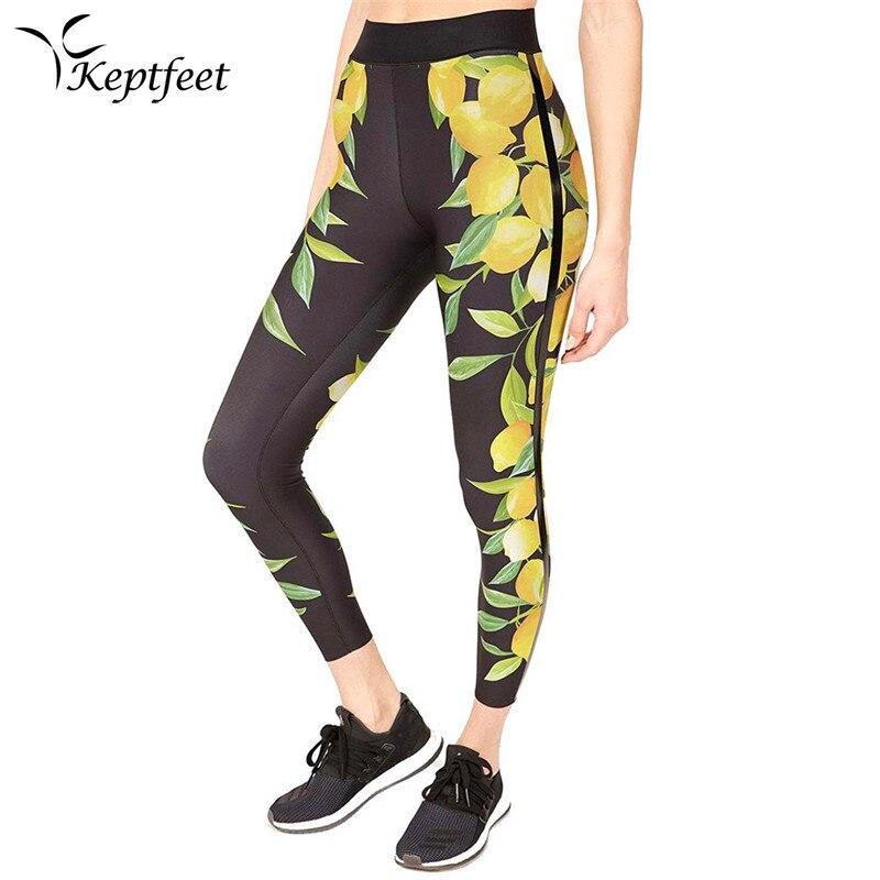 Lemon Leaves Printed Yoga Pants Women High Waist Sport Printing Leggings Black Fitness Running Tight Push Compression Sportswear