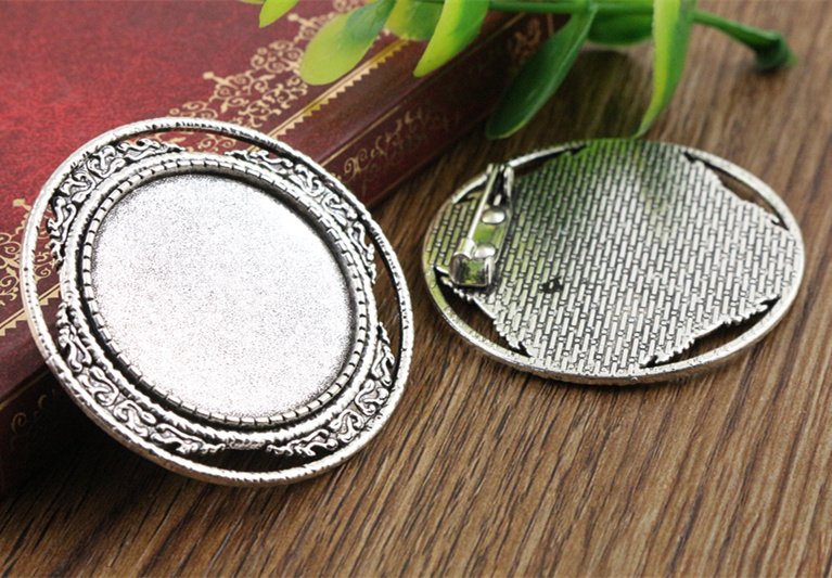 2pcs 30mm Inner Size Antique Silver Brooch Pin Classic Style Cabochon Base Setting (B6-04) anime style feather pattern zinc alloy brooch pin blue white silver