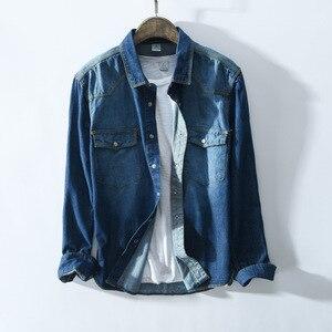 Image 2 - Рубашка мужская джинсовая в стиле сафари, приталенная синяя блуза из денима с карманами, модель 360 в ретро стиле