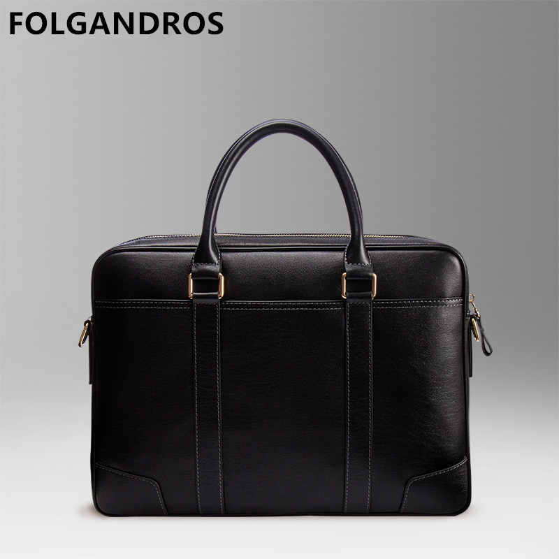2019 Designer Genuine Leather Briefcases Men Brand Business Laptop Shoulder Bag High Quality Vintage England Style Messenger Bag
