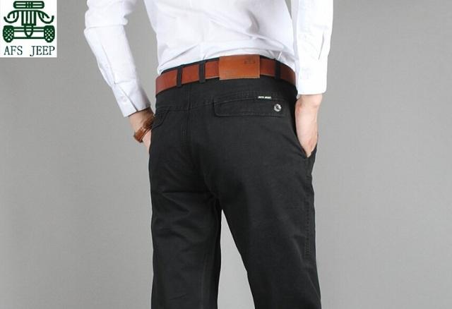 AFS JEEP 100% Ocasional dos homens do Algodão Pnats, 2015 Primavera Plus Size 29/44 Alta Qualidade Masculinos Calças meados de cintura, homem Calça Reta