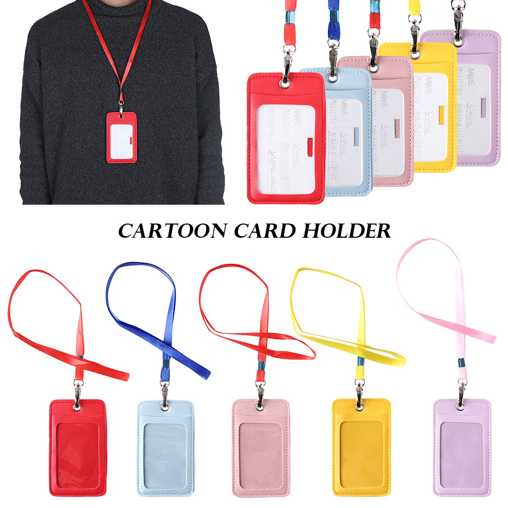 Women business lanyard card holder leather card case for student candy color cute cartoon children badge
