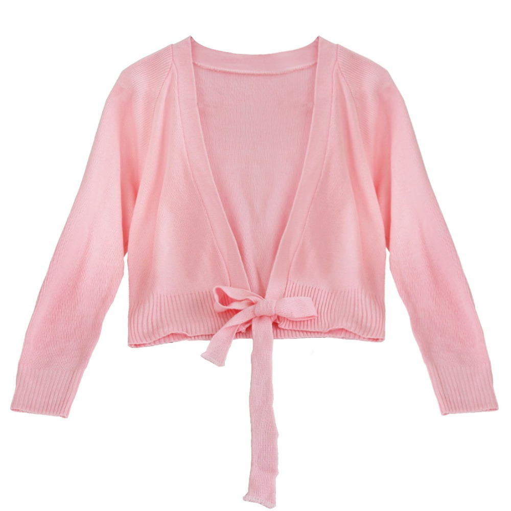 1e660f181a3c Girls Ballet Knitted Crossover Cardigan Wrap Kids Pink Black Red ...