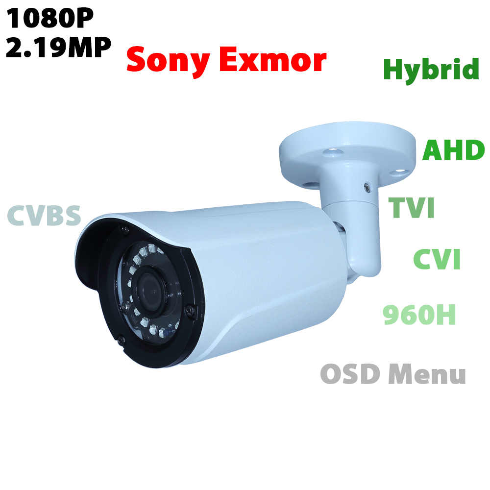 1080P hybrid analog video camera sony Exmor CMOS IMX323 AHD/TVI/CVI/CVBS output waterproof bullet security CCTV camera 4 in 1 ir high speed dome camera ahd tvi cvi cvbs 1080p output ir night vision 150m ptz dome camera with wiper