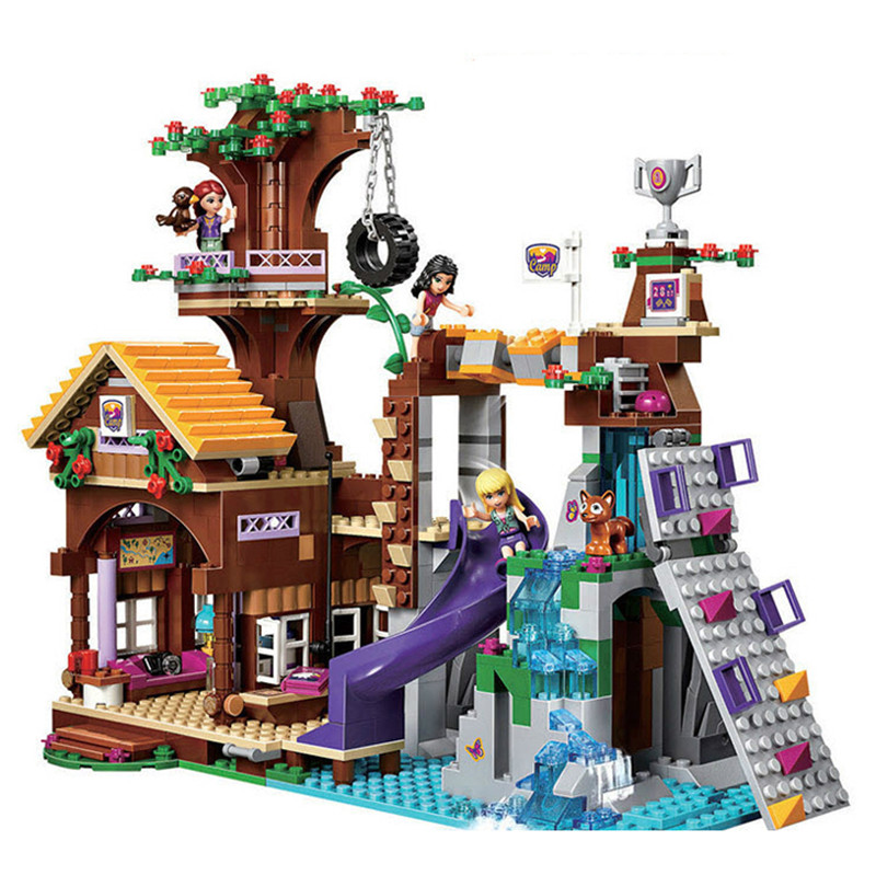 739pcs Compatible with playmobil Friends Adventure Camp Tree House Emma Mia Building Block Bricks Figure 41122 Toys For Children