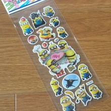 10 Sheets/lot 3D Cartoon  Minions wall stickers Kids Toys Bubble stickers Teacher baby Gift Reward PVC Sticker Christmas gift