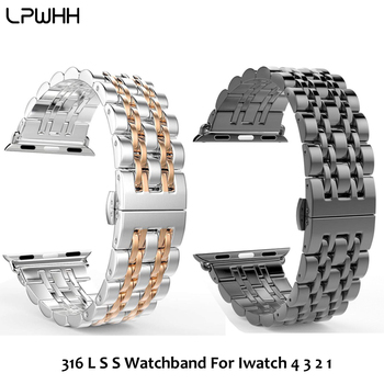 LPWHH 316 L ремешок из нержавеющей стали для Apple Watch ремешок 44 мм 42 мм 40 мм 38 мм Сменные аксессуары для iwatch 7 бисерные Ремешки для наручных часов