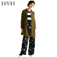 HYH Haoyihui Brand Women Army Green Coat Letters Embroidery Three Quarter Sleeve Female Long Jacket Ladies Casual Outwear