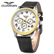 GUANQIN Men Leather Band Calendar Quartz Watch 10ATM Water Resistant with Three Moving Sub dials